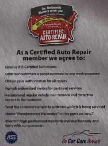 Certified Auto Repair pledge