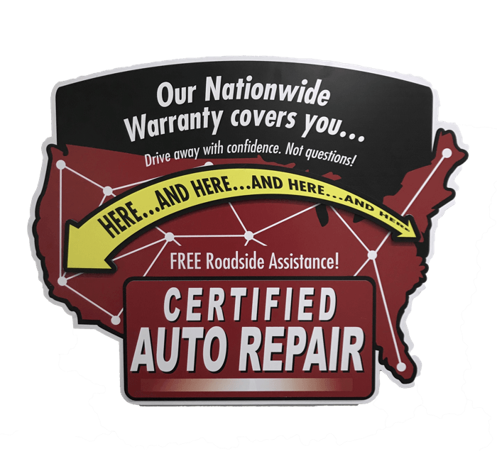 Certified Auto National Warranty sign